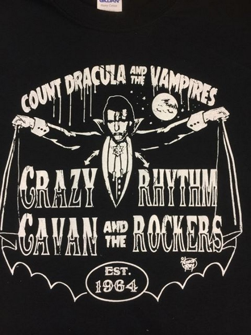 NEW COUNT DRACULA/ CRAZY CAVAN DESIGN T - SHIRT